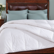 White Down Comforter 600 Fill Power, 100% Cotton 300 Thread Count, Twin Size, White