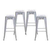 Buschman Set of Four Grey 80cm Counter High Tolix-Style Metal Bar Stools, Indoor/Outdoor, Stackable