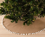 Pompom Trim Jute Holiday Christmas Tree Skirt, Stocking