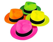 Party HaNeon Plastic Gangster Fedora Party Hats for Adults, Teens and Kids, by Playscene™ (24, Neon Gangster Hat) …