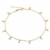 """10K Yellow Gold .50mm Diamond Cut Rolo Chain with 11 CZ Stone Charms Anklet Adjustable 9"""" to 10"""""""