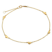 """10K Yellow Gold .50mm Diamond Cut Rolo Chain with 5 Diamond Cut Heart Charms Anklet Adjustable 9"""" to 10"""""""