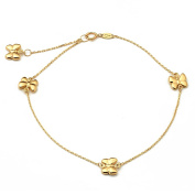 """10K Yellow Gold .50mm Diamond Cut Rolo Chain with 4 Butterfly Charms Anklet Adjustable 9"""" to 10"""""""
