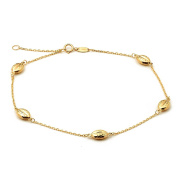 """10K Yellow Gold .50mm Diamond Cut Rolo Chain with 5 Oval Bead Charms Anklet Adjustable 9"""" to 10"""""""