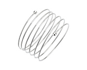 G & H Sterling Silver Coiled Wire and Bead Bangle Bracelet