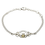Sterling Sliver Claddagh Bracelet With 14k Gold Plated Heart
