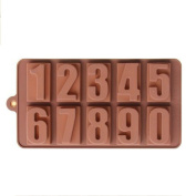 Topbeu Numbers 0 to 9 Shaped Silicone Mould for Handmade Chocolate Candy Ice Cube Candle Soap - 1 PC