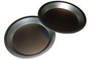 Two 23cm Pie Pans a Heavy weight steel none stick bakeware set with even heating