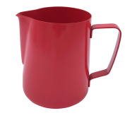 Wingkin Barista Milk Frothing Pitcher Small 350ml, Vintage Red Non-stick Milk Steaming Cup Suitable for Milk Tea Water Liquid