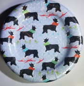 Boston Terrier Dogs Christmas Theme Blue 20cm Paper Plates