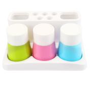Home-organiser Tech Bathroom Organisers Toothbrush Holder Dispenser Sets Tooth Brush Organiser Toothpaste Stand and Bathroom Storage Organiser Set for 5 Brushes