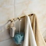 Beelee Brass Towel Hook Rail/Rack with 4 Hooks Wall Mount Entryway Storage Organiser, Polished Gold