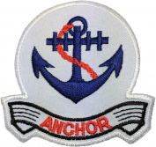 Anchor Marine Nautical Sailor Naval Rope DIY Sew Iron on Logo Emblem Embroidered Applique Badge Sign Costume Patch - White