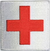 Medic Red Cross Sewing Iron on Embroidered Applique Patch 7.6cm x 7.6cm Red on White by Ranger Return