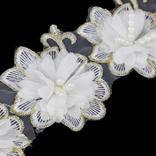 5yards Flower Applique Beading Trim Beaded Embroidery Patches Fabric Trimming Wedding Dress Lace Ribbon Sewing Accessories