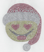 Emoji Christmas Rhinestone Iron On On, Hotfix , Christmas, X-mas Heat Press MOTIF applique DIY Santa Hat
