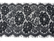3 metres lace trim eyelash fabric vintage venise black 29cm wide