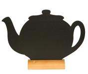 Securit Silhouette Teapot Table Chalk Board - Black/Teak