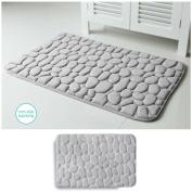 Embossed Stone Micro-Plush Memory Foam Bath Mat 20x34 Grey