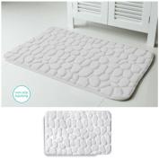 Embossed Stone Micro-Plush Memory Foam Bath Mat 20x34 White