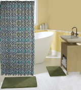 Complete 15 Piece Bath Set with 2 Memory Foam Bath Mats, Shower Curtain and Hooks in Sage