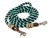 Showman 2.4m Rolled Nylon Barrel Roping Reins with Scissor Snaps and Rawhide on Ends