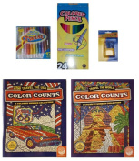 Colour Counts Travel/Travel the USA Colouring Books/Crayons/Coloured Pencils/Stickers/5-pc Bundle