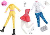 Barbie Doll Ice Skater - Fire Fighter - Pastry Chef Careers Fashion Accessory Pack Clothing Toy Set