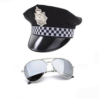 MENS POLICE FANCY DRESS SET - PC HAT & SILVER AVIATORS by Red Star