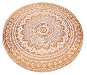 NANDNANDINI- Indian golden brown Ombre Mandala Round Roundie Beach Throw Tapestry Hippy Hippie Gypsy Cotton Tablecloth Beach Towel , Round Yoga Mat