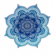 NANDNANDINI- 100% Cotton Large Round Lotus Flower Mandala Light Weight Tapestry - Outdoor Beach Roundie - Hippie Gypsy Boho Throw Towel Tablecloth Hanging Ocean Blue Turquoise Huge 200cm
