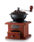 Gourmia GCG9310 Manual Coffee Grinder Artisanal Hand Crank Coffee Mill With Grind Settings & Catch Drawer 11.5 x 11.5 x 17.5 cm
