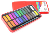 Watercolour Paint Set of 24 Solid Cake Colours with Bonus Paintbrush. High Colour Density. Perfect for Children or Adults. Pan, Palette for Lid. Enhance Your Art with Colorolio!