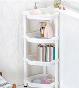 Shower Caddy Corner Rust Proof White Shelf Kitchen Bathroom Storage Unit 4 TIER