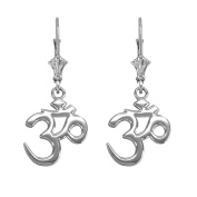 "Hindu Meditation Yoga ""Om"" (Aum) Leverback Earrings in 14k White Gold"