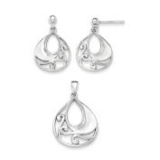 925 Sterling Silver Polished & Textured Cut-out Pendant & Dangle Earrings Set 16mm x 23mm