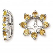 925 Sterling Silver Rhodium-plated Textured & Polished Citrine Earring Jacket