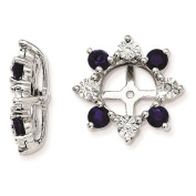 925 Sterling Silver Rhodium-plated Textured Diamond & Created-Sapphire Earring Jacket