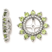 925 Sterling Silver Rhodium-plated Polished & Textured Diamond & Peridot Earring Jacket