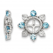 925 Sterling Silver Rhodium-plated Polished & Textured Diamond & Swiss Blue Topaz Earring Jacket