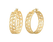 G & H Gold Plated Sterling Silver Double Chevron Click-Top Hoop Earrings
