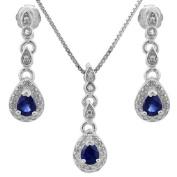 1/2 CT Genuine Sapphire & Diamond Sterling Silver Earring & Pendant Set w/46cm Chain