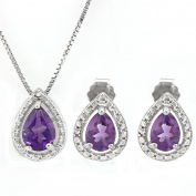 1 1/2 CT Amethyst & Diamond Sterling Silver Earring & Pendant Set w/46cm Chain