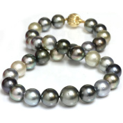 Tahitian South Sea Pearl Necklace 16 - 13 mm Fancy Multi Colour AAA- Quality 14K 13 mm Yellow Gold