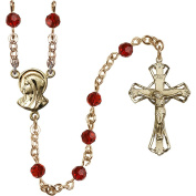 14kt Yellow Gold Filled Rosary 5mm January Red beads, Crucifix sz 1 1/4 x 3/4. Madonna medal charm