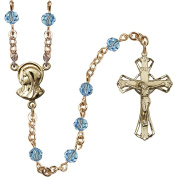 14 Karat Yellow Gold Rosary 5mm March Blue beads Crucifix sz 1 1/4 x 3/4. Madonna medal charm