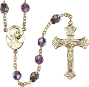 14kt Yellow Gold Filled Rosary 8mm February Purple , Capped Our Father Aurora Borealis beads, Crucifix sz 1 7/8 x 1 1/8. Novena medal charm