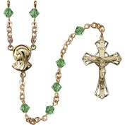 14 Karat Yellow Gold Rosary 5mm August Green Rundell-Shaped beads Crucifix sz 1 1/4 x 3/4. Madonna medal charm