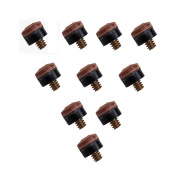 TTnight 10PCs 10mm Screw On Cue Tips For Pool Snooker Billiards Replacement Parts