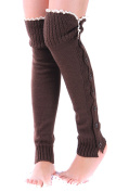 TININNA Lovely Women Knitted Button Down Lace Trim Legwarmer Boot Cover Sock Winter Cold Weather Leg Warmer